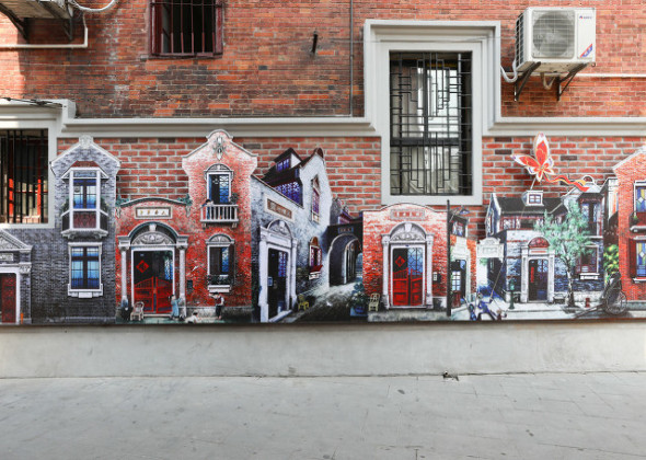 Creative Graffiti Brightens Up Old Alley in Shanghai